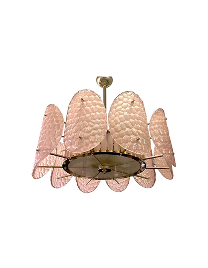 main_cosulich_interiors_and_antiques_products_new_york_design_bespoke_italian_crystal_rose_pink_murano_glass_brass_chandelier_flushmount